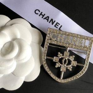 Authentic Chanel Swarovski Shield Brooch